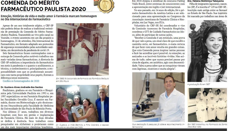 A revista do Farmacêutico , deste mês, traz  a homenagem aos farmacêuticos condecorados com a Comenda do Mérito Farmacêutico paulista 2020.